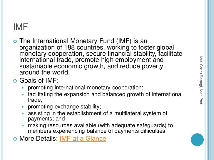 the role of the international monetary fund imf