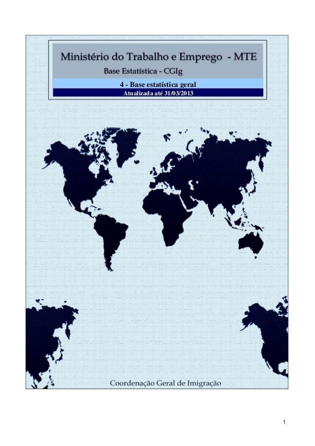 Gabinete do Ministro - GM Coordenação Geral de Imigração - CGIg Atualizado até 30/09/2011 Atualizada até 31/03/2013 4 - Ba...