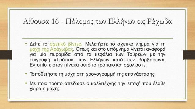 Αίθουσα 20 – Η Ναυμαχία των Παλαιοναβαρίνων • Αφού μελετήσετε το σχετικό λήμμα και αξιοποιώντας τον πίνακα να ετοιμάσετε μ...
