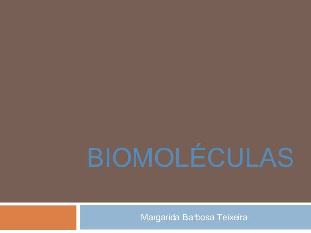 BIOMOLÉCULAS Margarida Barbosa Teixeira