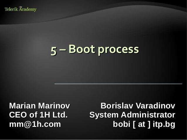 5 – Boot processMarian Marinov     Borislav VaradinovCEO of 1H Ltd.   System Administratormm@1h.com             bobi [ at ...