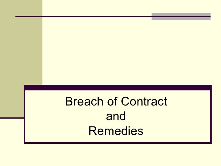 Remedies for breach of contract essay
