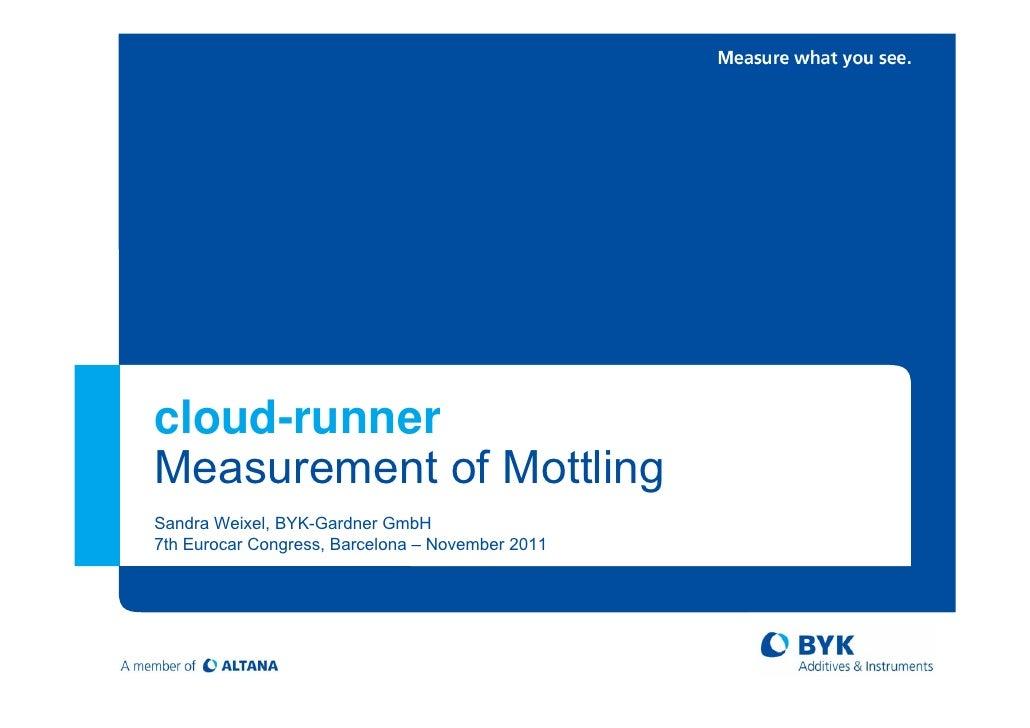 cloud-runnerMeasurement of MottlingSandra Weixel, BYK-Gardner GmbH7th Eurocar Congress, Barcelona – November 2011