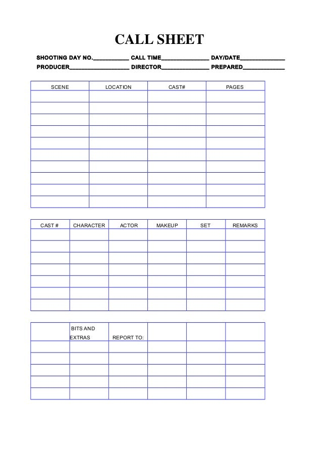 call register template - call sheet