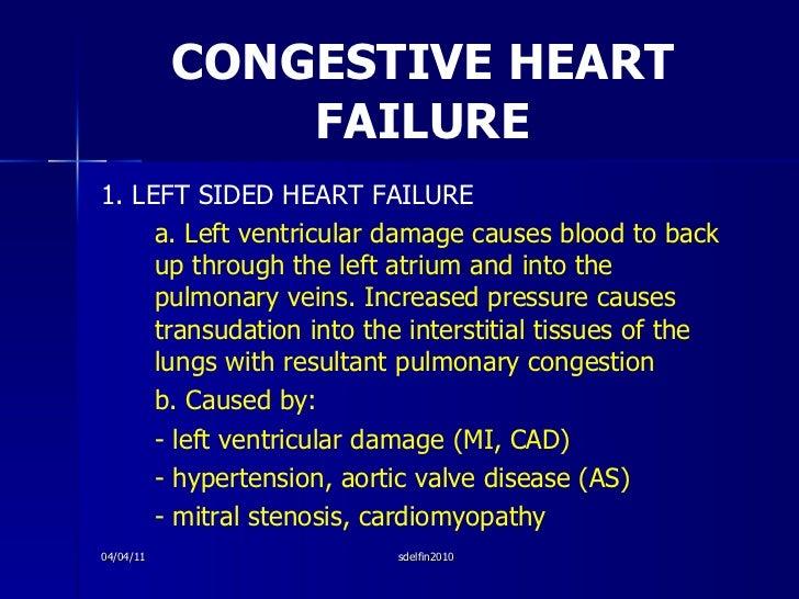 CONGESTIVE HEART FAILURE <ul><li>1. LEFT SIDED HEART FAILURE </li></ul><ul><li>a. Left ventricular damage causes blood to ...
