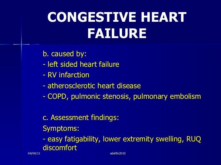 CONGESTIVE HEART FAILURE <ul><li>b. caused by: </li></ul><ul><li>- left sided heart failure </li></ul><ul><li>- RV infarct...