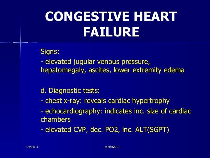 CONGESTIVE HEART FAILURE <ul><li>Signs: </li></ul><ul><li>- elevated jugular venous pressure, hepatomegaly, ascites, lower...