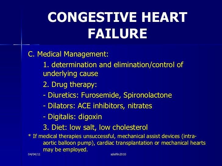CONGESTIVE HEART FAILURE <ul><li>C. Medical Management: </li></ul><ul><li>1. determination and elimination/control of unde...