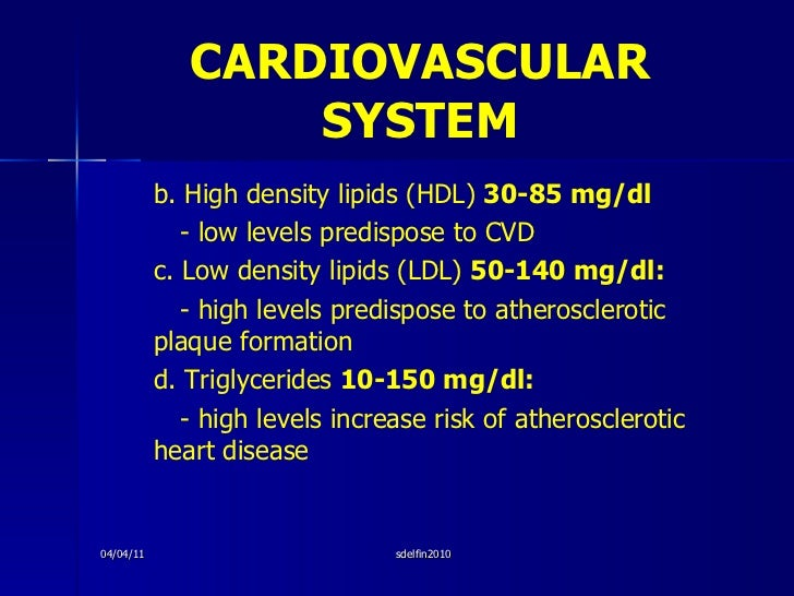 CARDIOVASCULAR   SYSTEM <ul><li>b. High density lipids (HDL)  30-85 mg/dl </li></ul><ul><li>- low levels predispose to CVD...