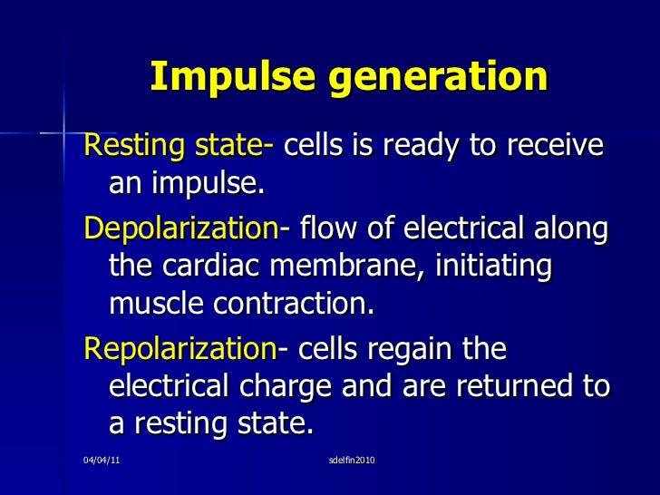 Impulse generation <ul><li>Resting state-  cells is ready to receive an impulse. </li></ul><ul><li>Depolarization - flow o...
