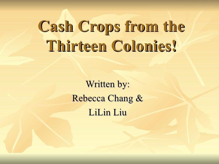 Cash Crops from the Thirteen Colonies! Written by: Rebecca Chang & LiLin Liu