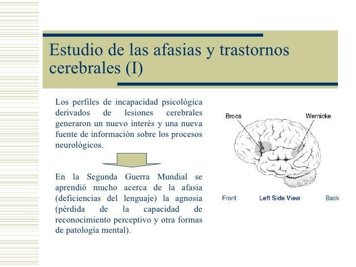 Estudio de las afasias y trastornoscerebrales (I)Los perfiles de incapacidad psicológicaderivados de lesiones cerebralesge...