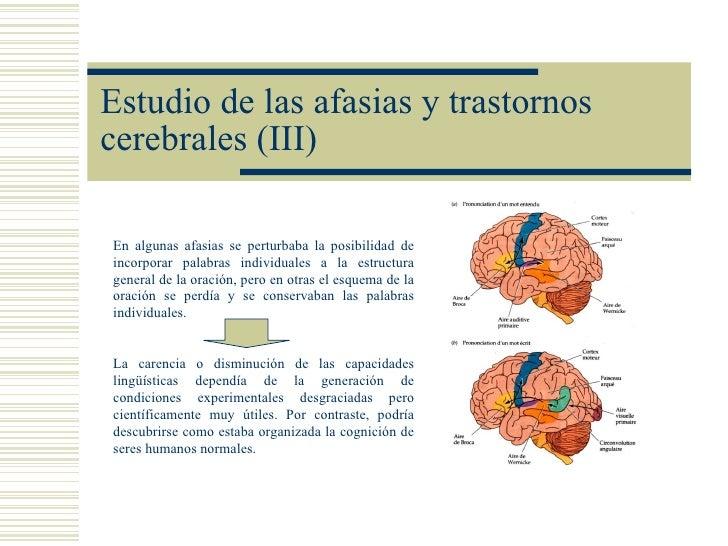 Estudio de las afasias y trastornoscerebrales (III)En algunas afasias se perturbaba la posibilidad deincorporar palabras i...