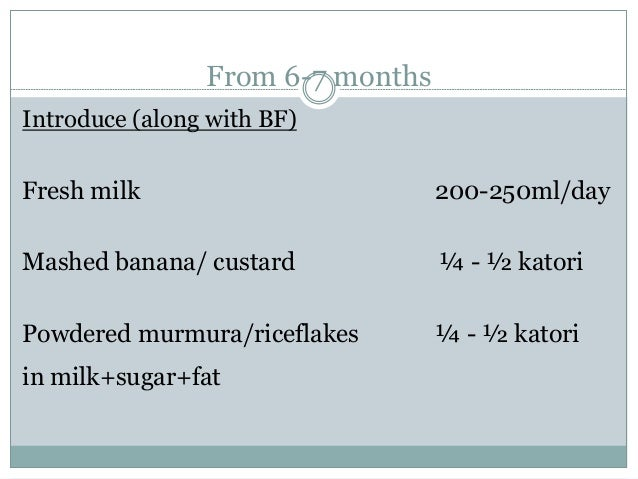 From 6-7 months Introduce (along with BF) Fresh milk 200-250ml/day Mashed banana/ custard ¼ - ½ katori Powdered murmura/ri...