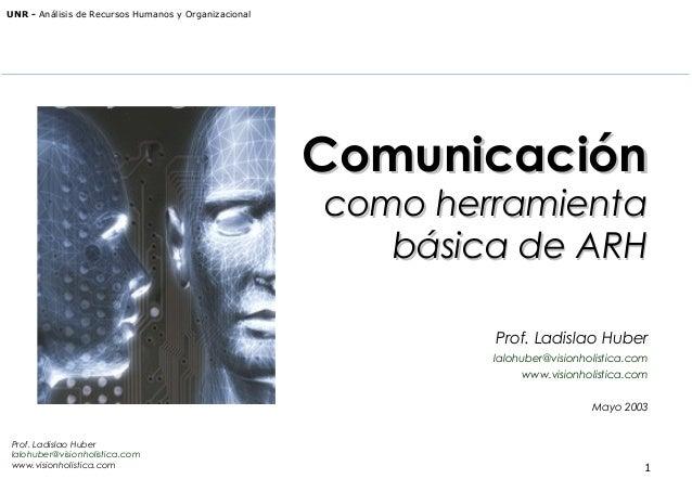 UNR - Análisis de Recursos Humanos y Organizacional  Comunicación como herramienta básica de ARH Prof. Ladislao Huber lalo...