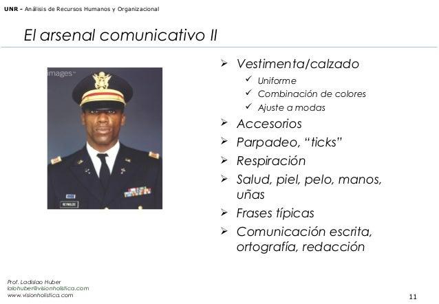 UNR - Análisis de Recursos Humanos y Organizacional  El arsenal comunicativo II  Vestimenta/calzado  Uniforme  Combinac...