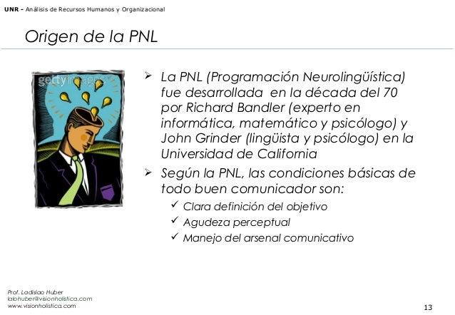 UNR - Análisis de Recursos Humanos y Organizacional  Origen de la PNL  La PNL (Programación Neurolingüística)  fue desarr...