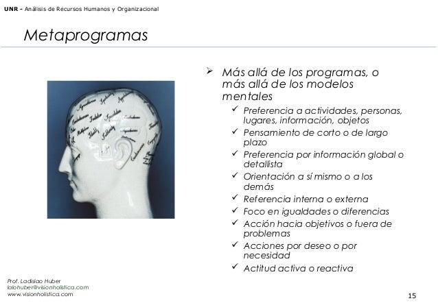 UNR - Análisis de Recursos Humanos y Organizacional  Metaprogramas  Más allá de los programas, o  más allá de los modelos...