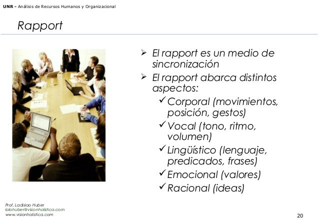 UNR - Análisis de Recursos Humanos y Organizacional  Rapport  El rapport es un medio de  sincronización  El rapport abar...