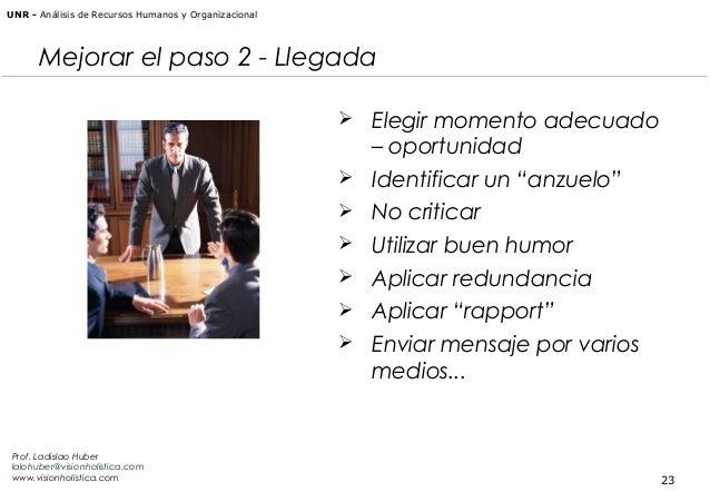 """UNR - Análisis de Recursos Humanos y Organizacional  Mejorar el paso 2 - Llegada    Identificar un """"anzuelo""""    No crit..."""