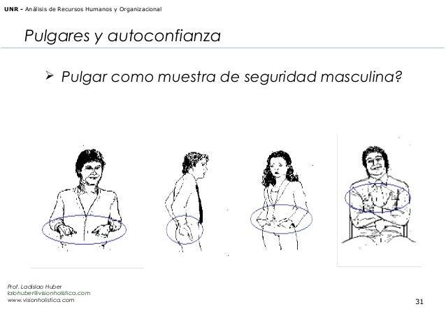 UNR - Análisis de Recursos Humanos y Organizacional  Pulgares y autoconfianza  Pulgar como muestra de seguridad masculina...