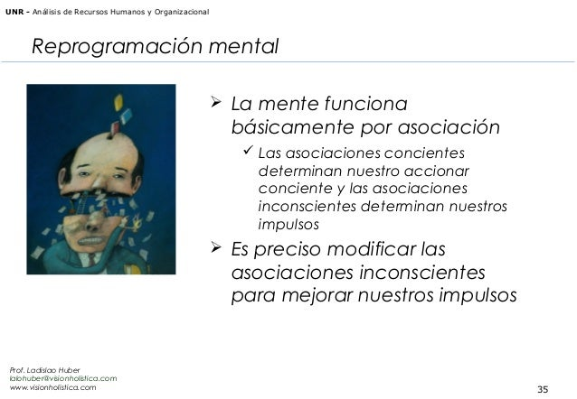 UNR - Análisis de Recursos Humanos y Organizacional  Reprogramación mental  La mente funciona  básicamente por asociación...