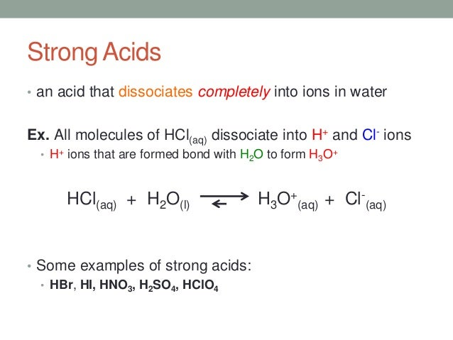 4 concentration vs strength of acid bases