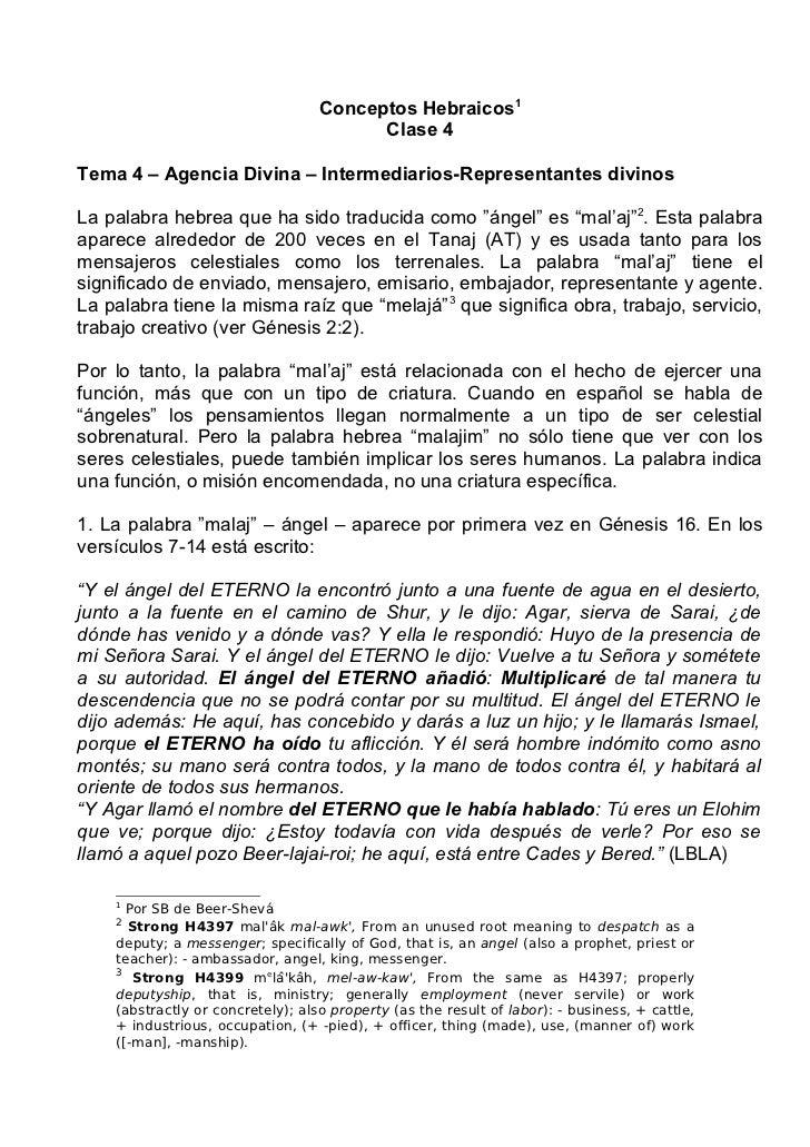 Conceptos Hebraicos1                                         Clase 4Tema 4 – Agencia Divina – Intermediarios-Representante...
