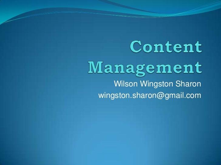 Wilson Wingston Sharonwingston.sharon@gmail.com