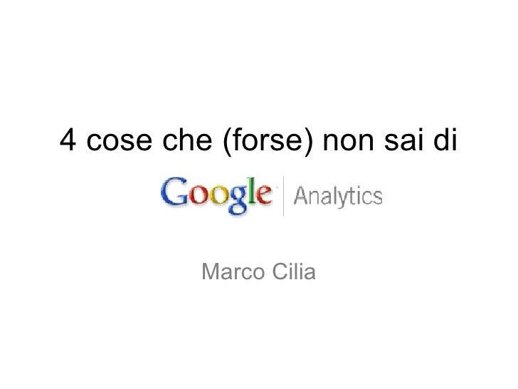 4 cose che (forse) non sai di Marco Cilia