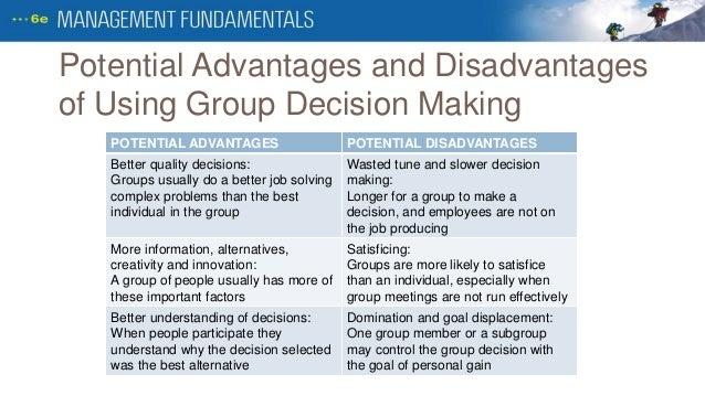 advantages and disadvantages group decision making busines