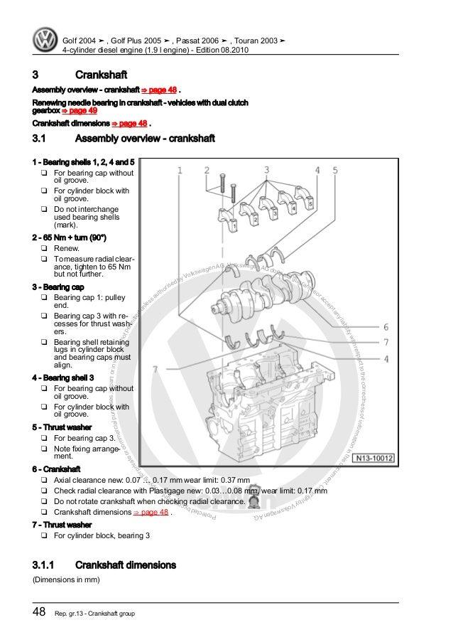 4 cylinder diesel engine (1 9 l engine) VW