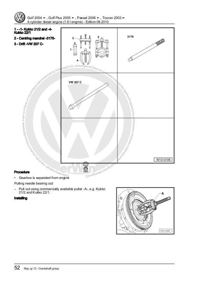 4 cylinder diesel engine (1.9 l engine) VW