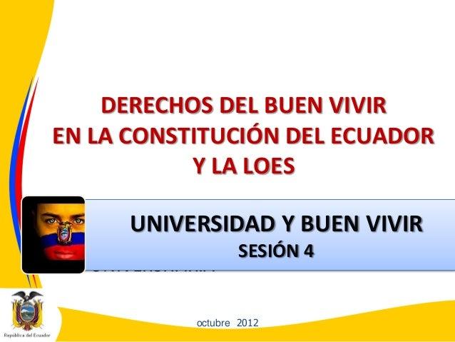 DERECHOS DEL BUEN VIVIREN LA CONSTITUCIÓN DEL ECUADORY LA LOES• EDUCACIÓNSUPERIOR NOUNIVERSITARIAoctubre 2012UNIVERSIDAD Y...