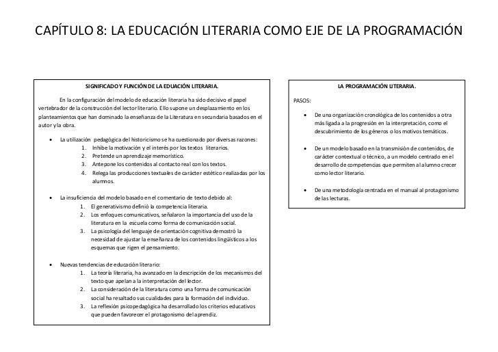 CAPÍTULO 8: LA EDUCACIÓN LITERARIA COMO EJE DE LA PROGRAMACIÓN                  SIGNIFICADO Y FUNCIÓN DE LA EDUACIÓN LITER...