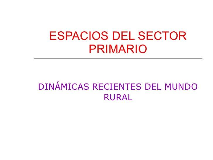 ESPACIOS DEL SECTOR PRIMARIO DINÁMICAS RECIENTES DEL MUNDO RURAL