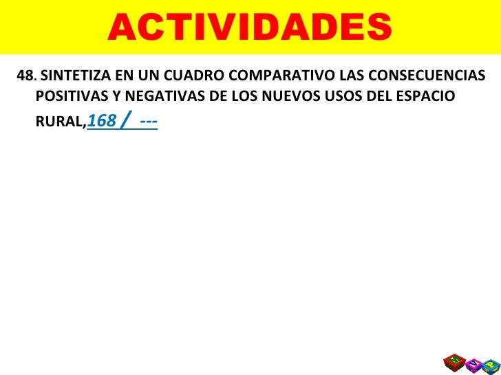 ACTIVIDADES <ul><li>48 .  SINTETIZA EN UN CUADRO COMPARATIVO LAS CONSECUENCIAS POSITIVAS Y NEGATIVAS DE LOS NUEVOS USOS DE...