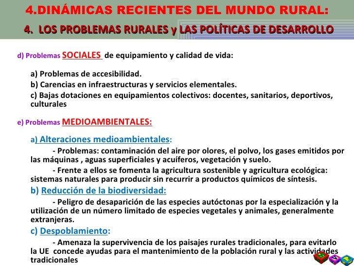 <ul><li>d) Problemas  SOCIALES   de equipamiento y calidad de vida: </li></ul><ul><li>a) Problemas de accesibilidad. </li>...