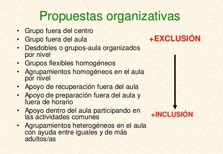 Propuestas organizativas• Grupo fuera del centro• Grupo fuera del aula                  +EXCLUSIÓN• Desdobles o grupos-aul...