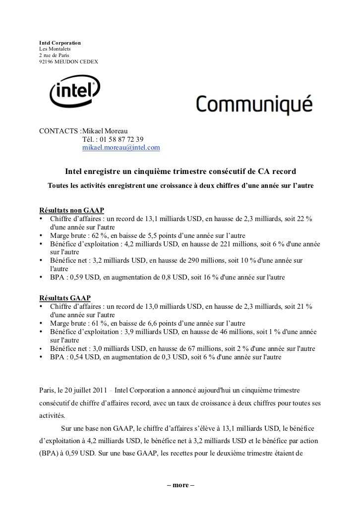 Intel CorporationLes Montalets2 rue de Paris92196 MEUDON CEDEXCONTACTS : Mikael Moreau           Tél. : 01 58 87 72 39    ...