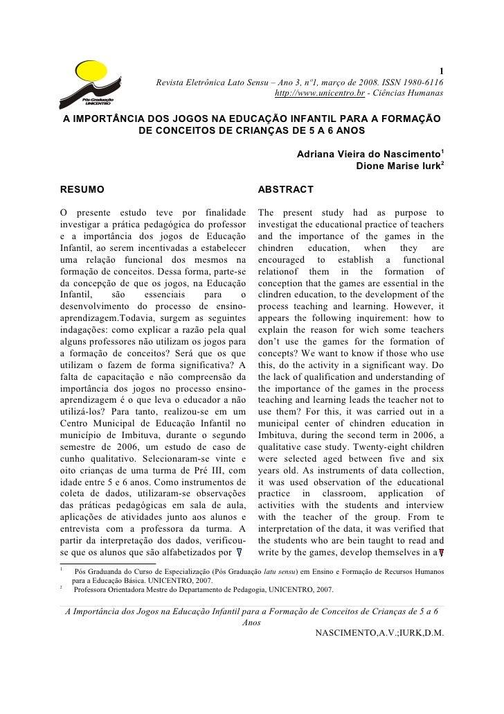 1                             Revista Eletrônica Lato Sensu – Ano 3, nº1, março de 2008. ISSN 1980-6116                   ...