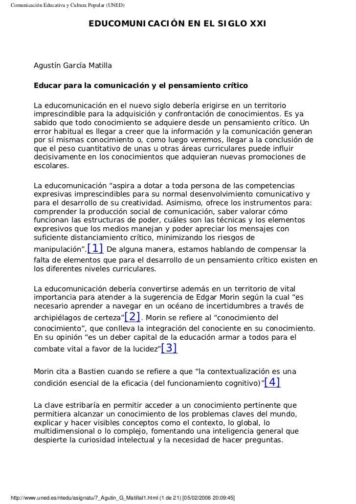 Comunicación Educativa y Cultura Popular (UNED)                                EDUCOMUNICACIÓN EN EL SIGLO XXI         Agu...