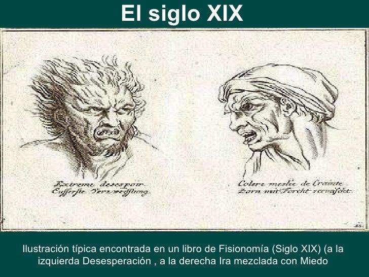 El siglo XIX Ilustración típica encontrada en un libro de Fisionomía (Siglo XIX) (a la izquierda Desesperación , a la dere...