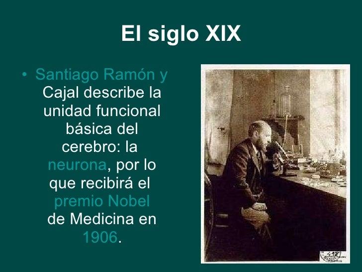 El siglo XIX <ul><li>Santiago Ramón y  Cajal  describe la unidad funcional básica del cerebro: la  neurona , por lo que re...