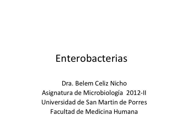 Enterobacterias      Dra. Belem Celiz NichoAsignatura de Microbiología 2012-IIUniversidad de San Martin de Porres   Facult...