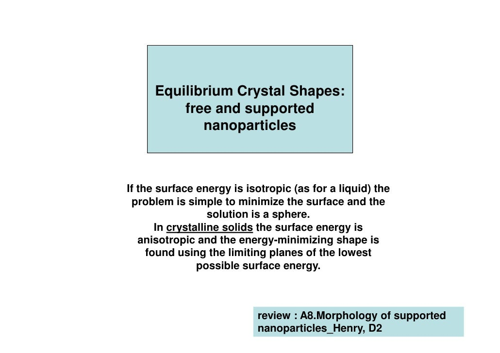 Equilibrium Crystal Shapes:         free and supported            nanoparticlesIf the surface energy is isotropic (as for ...