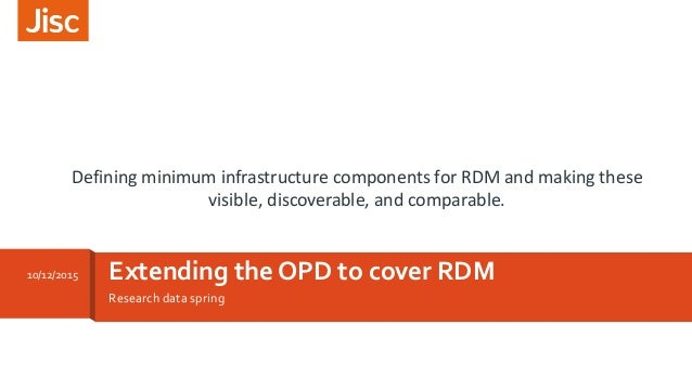 Research data spring Extending the OPD to cover RDM10/12/2015 Defining minimum infrastructure components for RDM and makin...