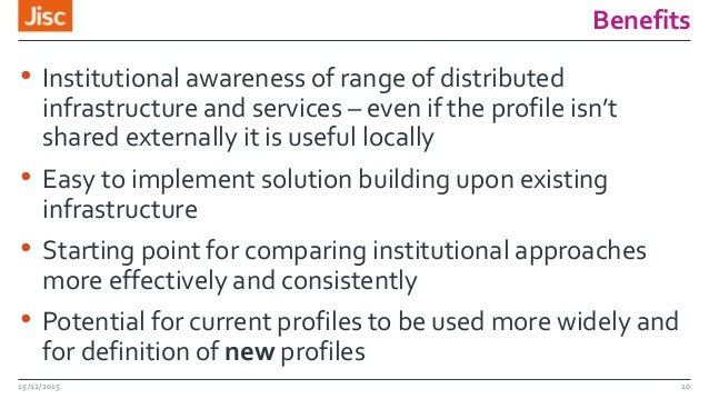 Benefits • Institutional awareness of range of distributed infrastructure and services – even if the profile isn't shared ...