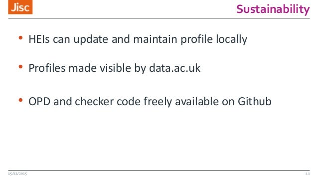 Sustainability • HEIs can update and maintain profile locally • Profiles made visible by data.ac.uk • OPD and checker code...
