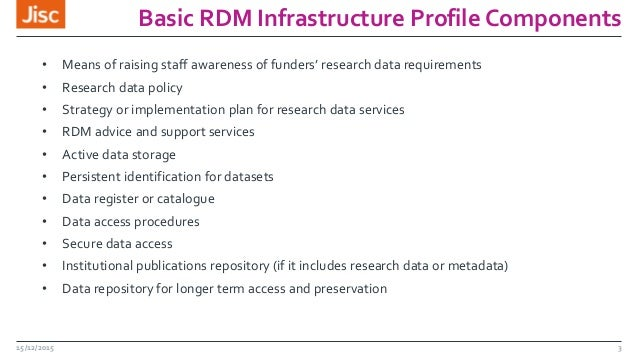 Basic RDM Infrastructure Profile Components 15/12/2015 3 • Means of raising staff awareness of funders' research data requ...